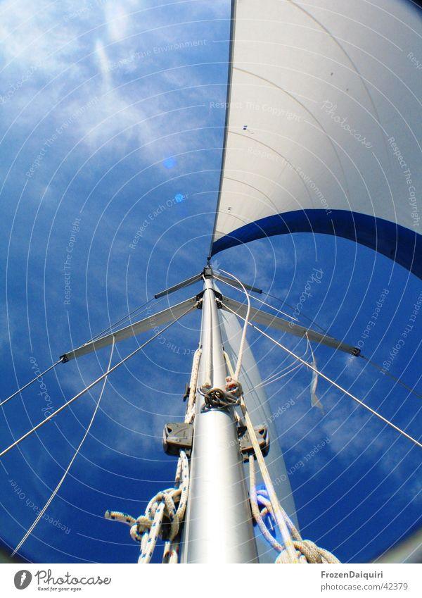 Takelage #2 Himmel weiß blau Ferien & Urlaub & Reisen Wolken Segeln Bayern Schifffahrt Strommast Segel Segelboot Kroatien Takelage Wanten Genua
