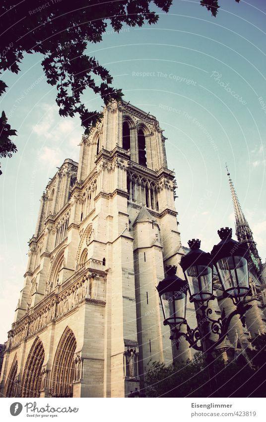 Notre Dame Paris Frankreich Europa Kathedrale Notre-Dame Straßenbeleuchtung alt ästhetisch außergewöhnlich Bekanntheit Farbfoto Gedeckte Farben Außenaufnahme