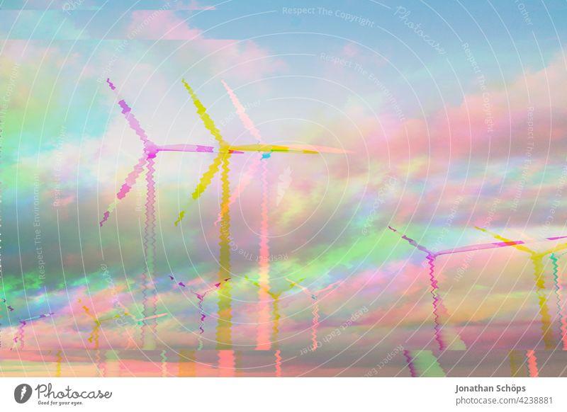 erneuerbare Energie nachhaltig erzeugt mit Windräder Glitch Effekt Windmühle Windkraftwerk Windkraftanlage weiß Technik & Technologie Turbine Sonne Sommer