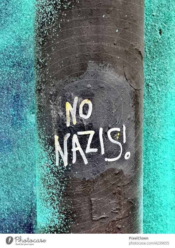 Graffiti mit politischem Statement Blume Wandmalereien Straßenkunst Jugendkultur Wort Mauer Nazi Schriftzeichen Subkultur