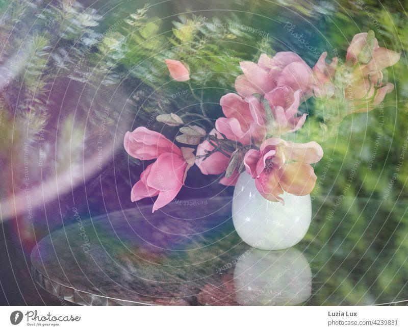 Magnolienstrauß in weißer Vase auf einem Kaffeetisch, fotografiert durch die Fensterscheibe mit Spiegelungen vom Laub der Straßenbäume rosa Blüten