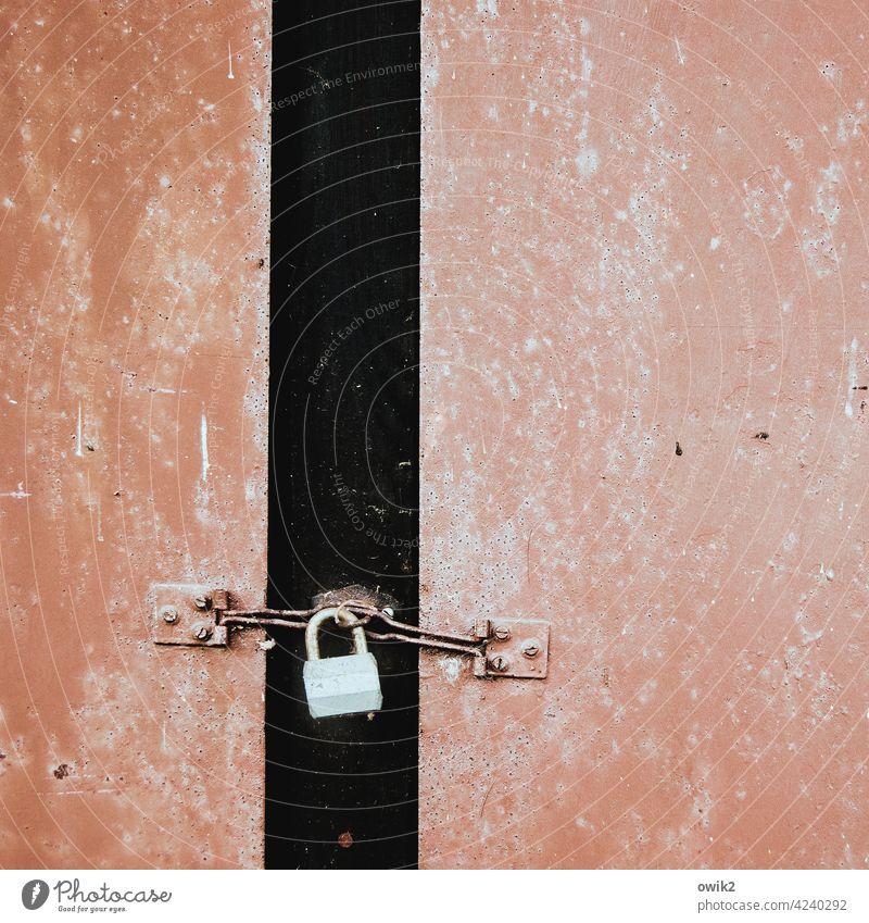 Russische Technik Schloss Vorhängeschloss alt Tür rötlich Geräteschuppen Sicherheit ausgeblichen Nahaufnahme Zahn der Zeit Vergänglichkeit Außenaufnahme Metall