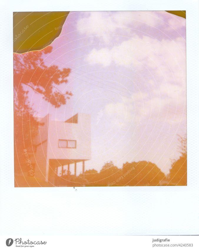Haus Le Corbusier in der Weißenhofsiedlung Stuttgart auf Polaroid Architektur le corbusier Bauwerk Stadt Neues Bauen Bauhaus modern Moderne Architektur Himmel