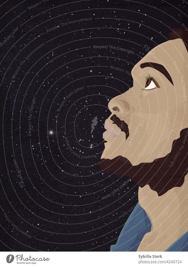 Mann starrt verträumt in den Nachthimmel afrikanische ethnische Zugehörigkeit Vollbart träumend wünschend hoffend Stern sich einen Stern wünschen Hoffnung