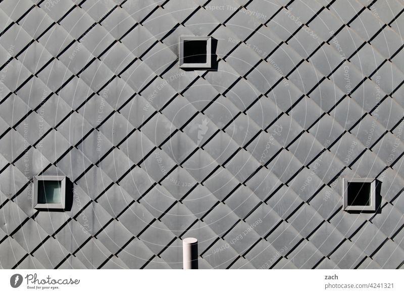 Knallgrau Muster Einsamkeit Fenster Beton Linie Häusliches Leben Fassade Wand Mauer Architektur Bauwerk Menschenleer Haus Industrieanlage überbevölkert