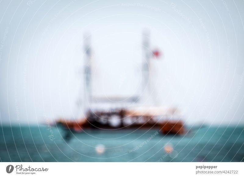 Fata Morgana Schiff Schifffahrt segelbot maritim Menschenleer Außenaufnahme Boot Wasserfahrzeug Ferien & Urlaub & Reisen Bootsfahrt Tourismus Ausflug Segeln
