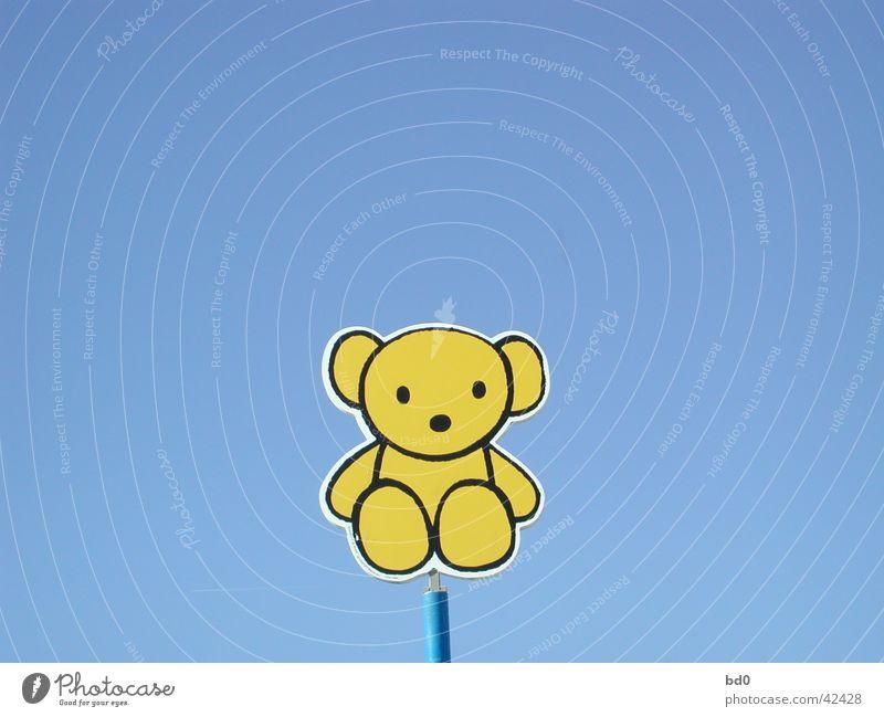 teddy auf blau gelb Schilder & Markierungen Grafik u. Illustration Blauer Himmel Bär Stofftiere Teddybär Symbole & Metaphern Farbverlauf