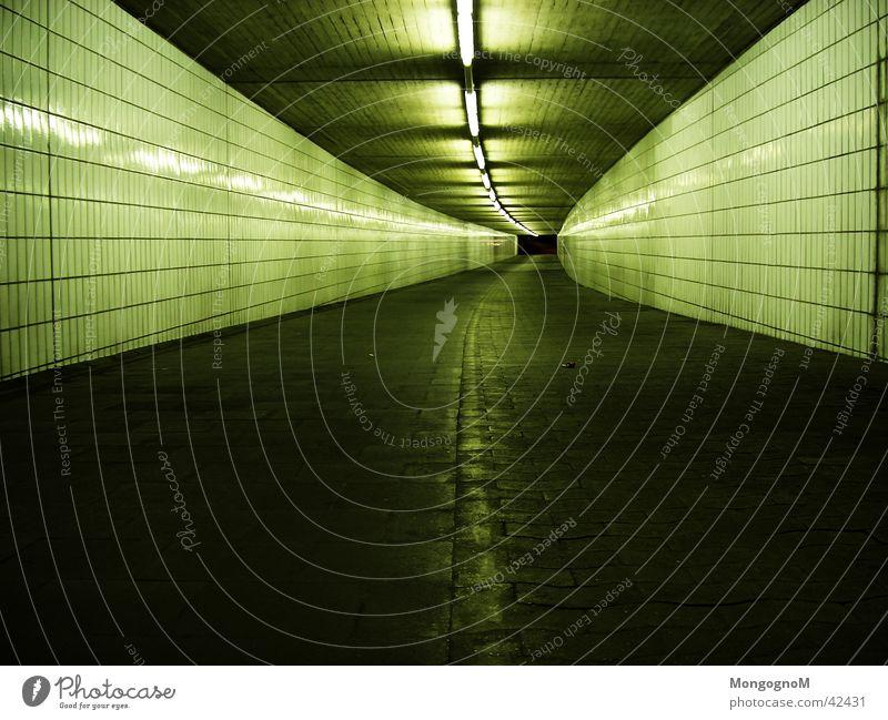 Tunnel Neonlicht dunkel Architektur Gang