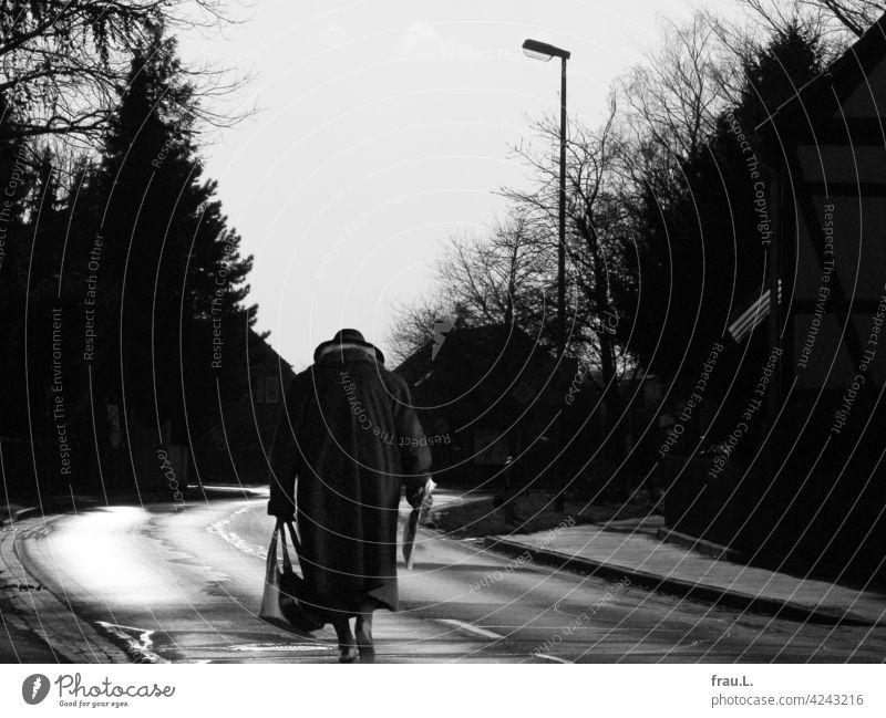 Fast zu Hause Fotomontage allein Mensch Degersen Frau Dorf Hut gehen gebeugt Montage einsam Handtasche Mantel Straße Landstraße Häuser Bäume Dorfstraße Zeitung