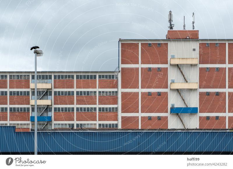 rote Lagerhausfassade aus Backsteinen mit diagonalen Fluchttreppen Lagerhalle Hafen Hafengebiet Spedition Industrie Handel industriell Versand Verkehr Container