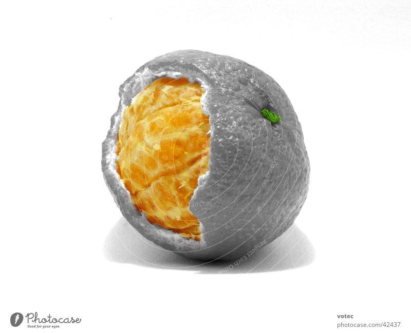 Mandarine Inside häuten Gesundheit Frucht Schalen & Schüsseln Hülle Charakter Schwarzweißfoto