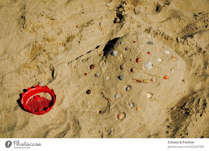 rotes Siebchen und Muscheln am Strand Sandburg spielen Urlaub Familienurlaub Erholung erholen Ferien & Urlaub & Reisen Sommer Meer Spielen Außenaufnahme