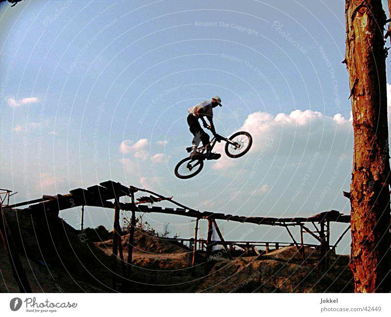 Sprung Mensch Himmel Jugendliche Junger Mann Bewegung Sport springen maskulin Aktion Fahrrad Schönes Wetter Coolness Trick Mountainbike Gelände Extremsport
