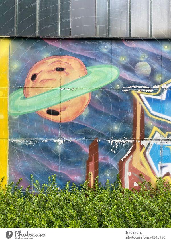 weltall. Weltall Planet Graffiti Raumfahrt Farbfoto Himmelskörper & Weltall Astronomie Wand Wandbilder Fassadengestaltung Fassadenverkleidung Busch