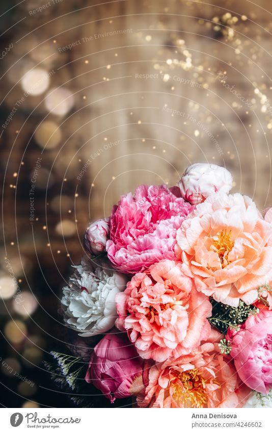 Erstaunlich frischer Strauss rosa Pfingstrosen Bund Pfingstrosen Pfingstrosenstrauß blassrosa Blume Blumenstrauß Rosen blüht Vorkehrungen Blumenkollektionen