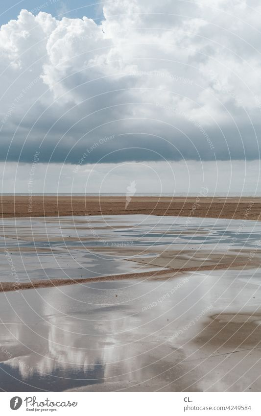 leerstrand Strand Himmel Wolken Wetter Spiegelung Natur Meer Küste Insel Ruhe Erholung Sand Ferien & Urlaub & Reisen Wasser Horizont endlos weite Ferne Freiheit