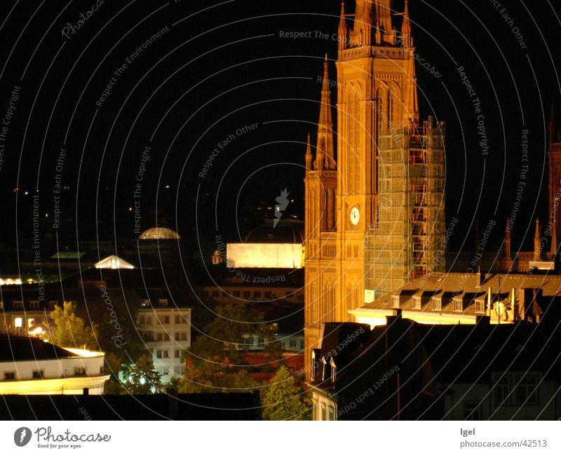 Wiesbaden bei Nacht Stadt Religion & Glaube Beleuchtung Architektur überblicken