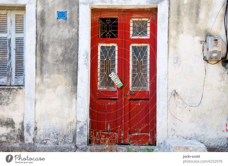 an der alten Pforte 50% ! Tür retro Stil Zahn der Zeit Verfall verwittert Hinweis befestigt griechisch Korfu Griechenland Plakat Ziffern & Zahlen