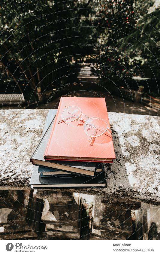 Haufen Bücher mit einer Brille darüber in einem Park mit Kopierraum Lesekonzepte Buch Bildung Person Bibliothek Literatur offen Page lesen Schule Schüler Papier