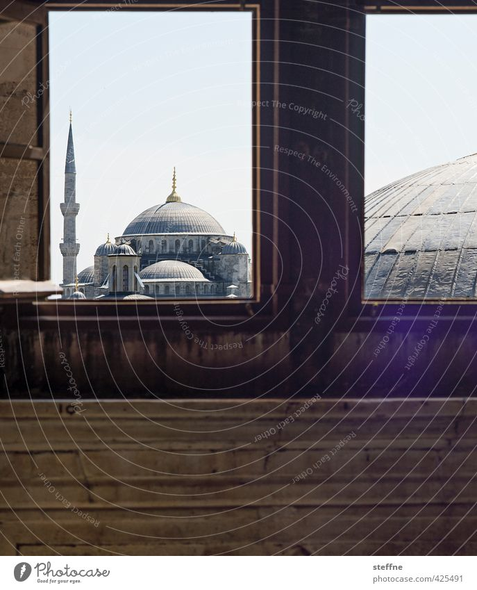 A Room with a View schön Fenster außergewöhnlich ästhetisch Aussicht historisch Wahrzeichen Hauptstadt Sehenswürdigkeit Altstadt Rahmen Türkei Istanbul Islam