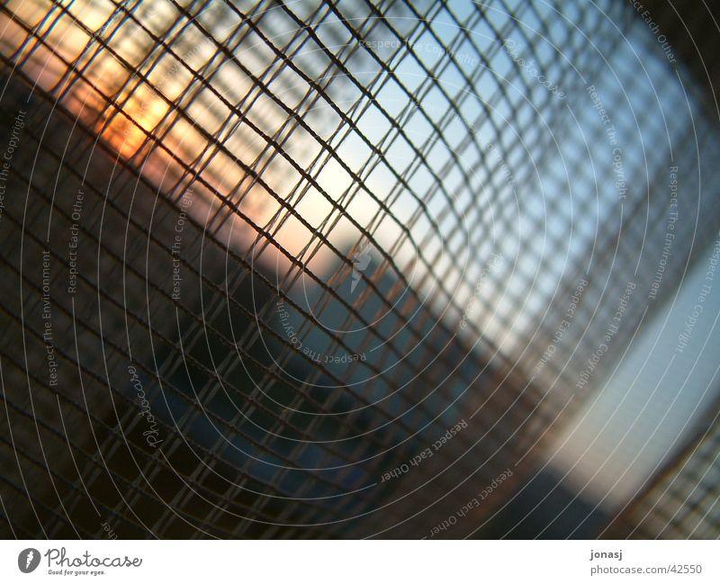 Hinter Gittern Fenster Vorhang Fototechnik Himmel blau Sonne Aussicht Sonnenuntergang