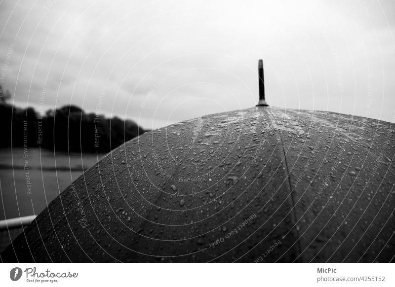 Regenschirm mit Regen schwarzweiss grau in grau Regenwetter nass schlechtes Wetter Außenaufnahme Wasser kalt Wassertropfen Menschenleer Tropfen Detailaufnahme