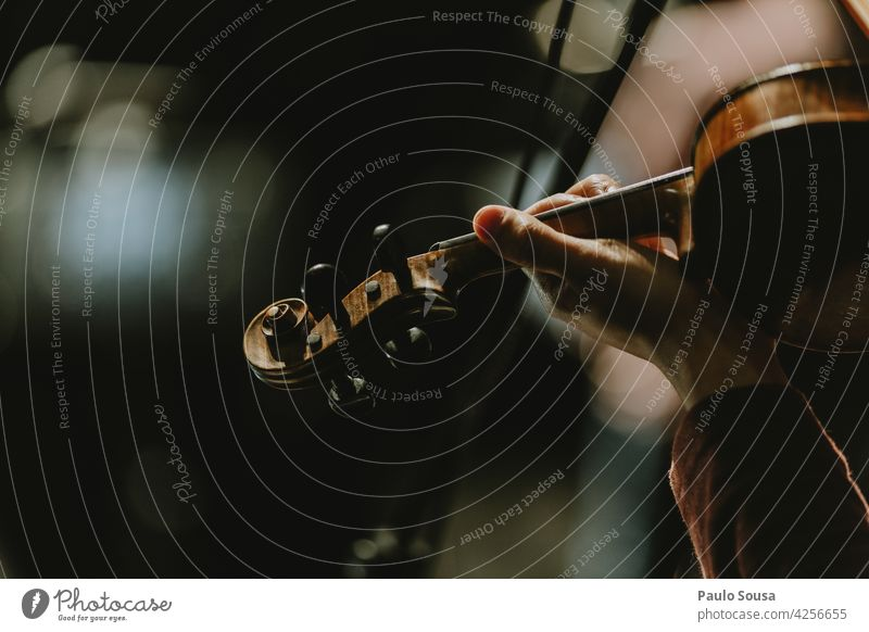 Nahaufnahme Hand hält Geige Geiger Orchester Musik Musikinstrument Streichinstrumente Schauplatz Holz Innenaufnahme Musik hören Saite Konzert Kunst