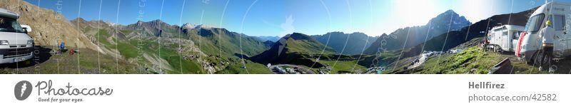 Col de Galibier 1 Tour de France Frankreich Etappenrennen Panorama (Aussicht) alpin Berge u. Gebirge Himmel blau groß Panorama (Bildformat)