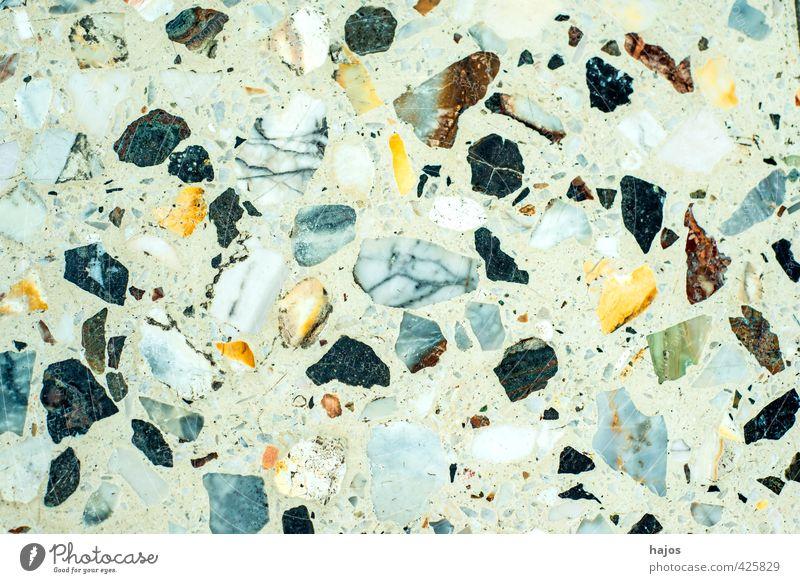 Steinboden aus Mosaiksteinen Handwerk alt historisch Kitsch trashig blau gelb grau grün schwarz weiß Kunst Vergangenheit Boden Belag altmodisch zusammengesetz