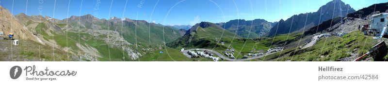 Col de Galibier 2 Himmel blau Berge u. Gebirge groß Radrennen Aussicht Frankreich Panorama (Bildformat) Rennsport alpin Tour de France Etappenrennen