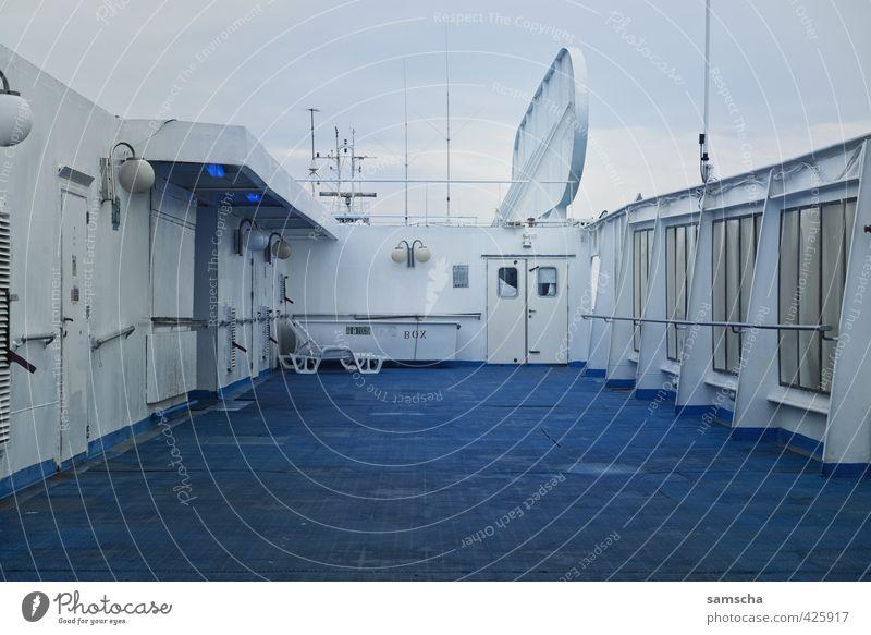 Deck Himmel Ferien & Urlaub & Reisen blau Meer Ferne Bewegung Reisefotografie Wasserfahrzeug Metall Abenteuer fahren Schifffahrt Personenverkehr unterwegs Fähre