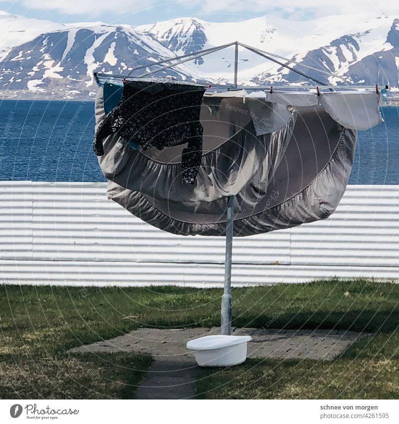 Wäsche in Island Meer Trocken Bettwäsche Horizonte Sauber Waschen Waschmaschine Wäscheständer