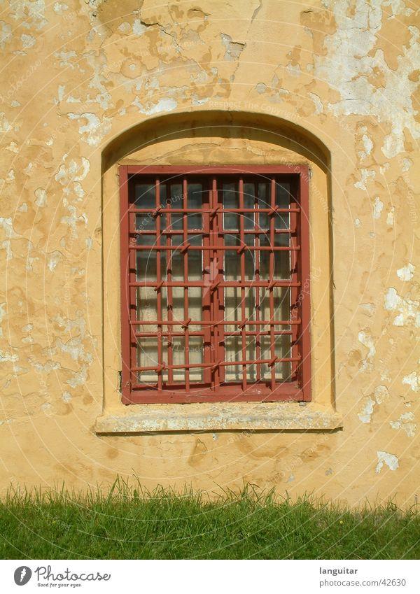 mywindow Fenster Gitter gelb rot Wand Festung gefangen Quadrat Fensterbrett Putz Verfall kaputt Gras grün Architektur historisch Window Glas