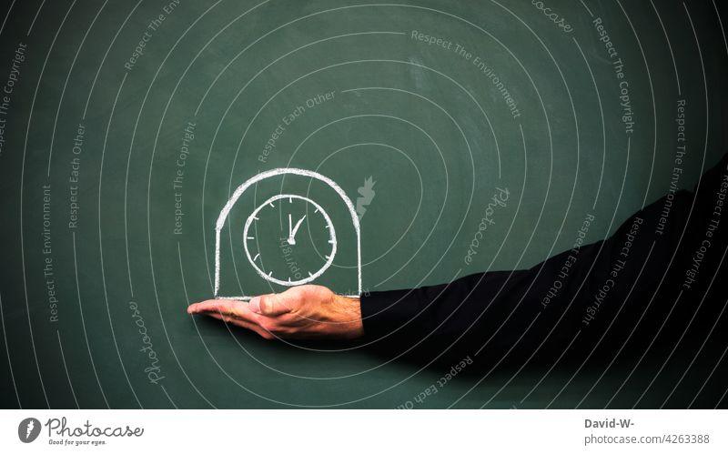 Uhrzeit - Konzept zu Termin / Pünktlichkeit und Zeitmanagment Zeitdruck zeitmanagement Stress Kreide Tafel Wecker