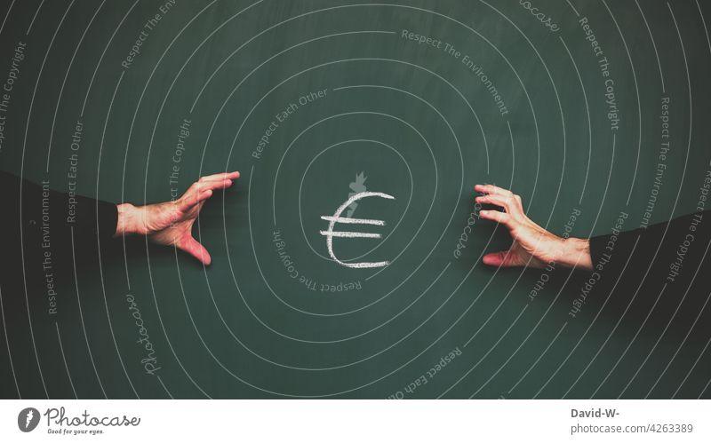 gierig nach Geld Streit Wettkampf Finanzen Vermögen Ungerechtigkeit Euro € meins Sucht egoistisch Männer streiten Geldgier