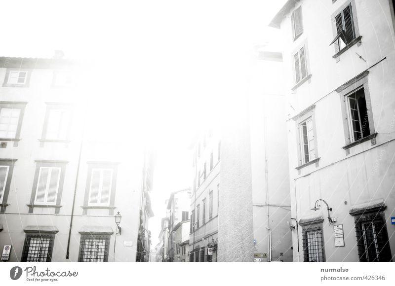 Lucca Ferien & Urlaub & Reisen Tourismus Ausflug Sommer Kunst Umwelt Stadt Menschenleer Haus Marktplatz Bauwerk Gebäude Fenster Erholung genießen alt Stimmung