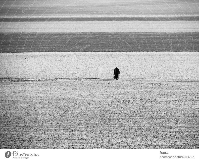 Wo ist er? Frau Dorf Feldweg Mantel Hut gebeugt Handtasche Felder Degersen Montage einsam Mensch allein Fotomontage