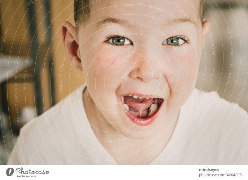 glücklicher Junge hoher Schlüssel Porträt Glück Mensch Kind Kindheit Freude Fröhlichkeit Farbfoto Gesicht Kaukasier jung heiter Offener Mund Mund geöffnet