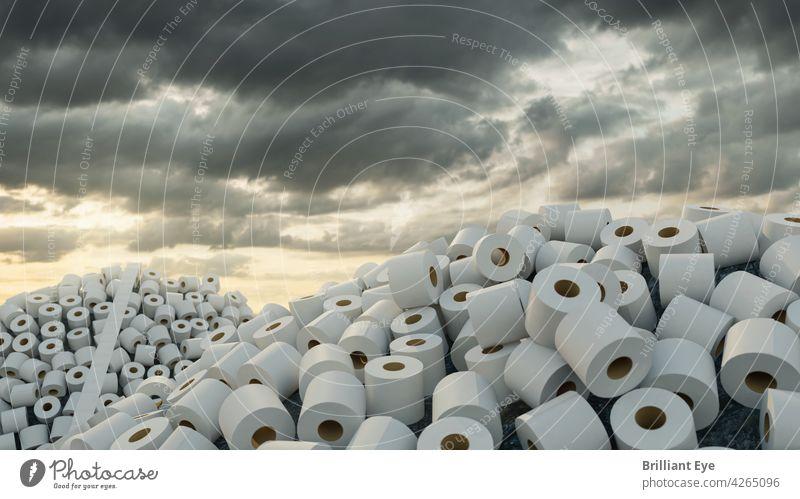 Haufen mit ganz vielen Toilettenpapierrollen vor bewölktem Himmel 3d abstrakt Hintergrund Konzept covid-19 Umwelt Abend Boden Hügel Haushalt Hygiene industriell