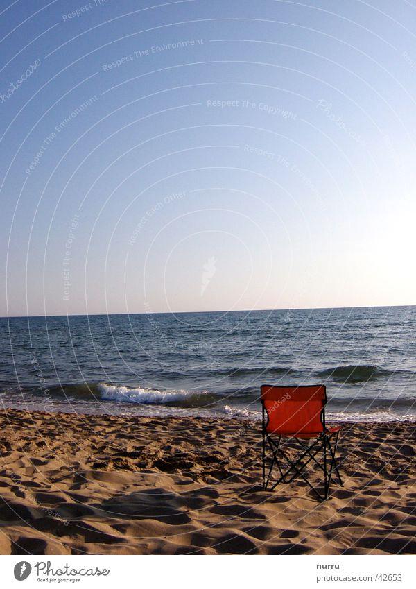 ruhe Meer Strand Italien Europa Stuhl Abend Sonne