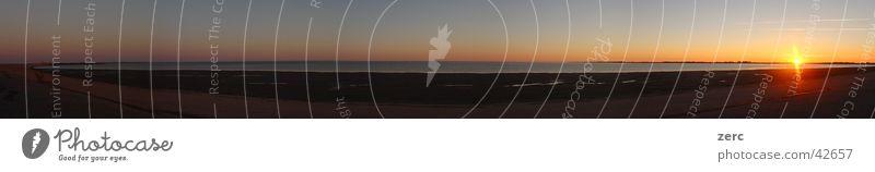 Das Eidersperrwerk Wasser Sonne Meer groß Panorama (Bildformat) untergehen