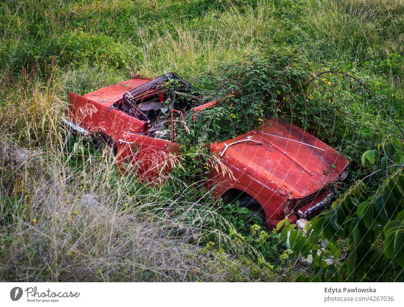 Verlassenes Autowrack, Provinz Malaga, Andalusien, Spanien Schiffswrack PKW rot Gras Unfall altehrwürdig grün Frigiliana Nerja Provinz Málaga Fahrzeug Automobil