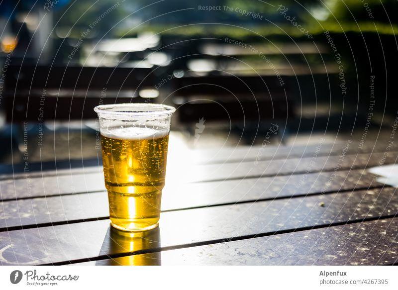 Prost Bier Biergarten Pils Alkohol Außenaufnahme Sonnenlicht Lichterscheinung Menschenleer Farbfoto Glas Getränk Bierglas Erfrischungsgetränk trinken Tag