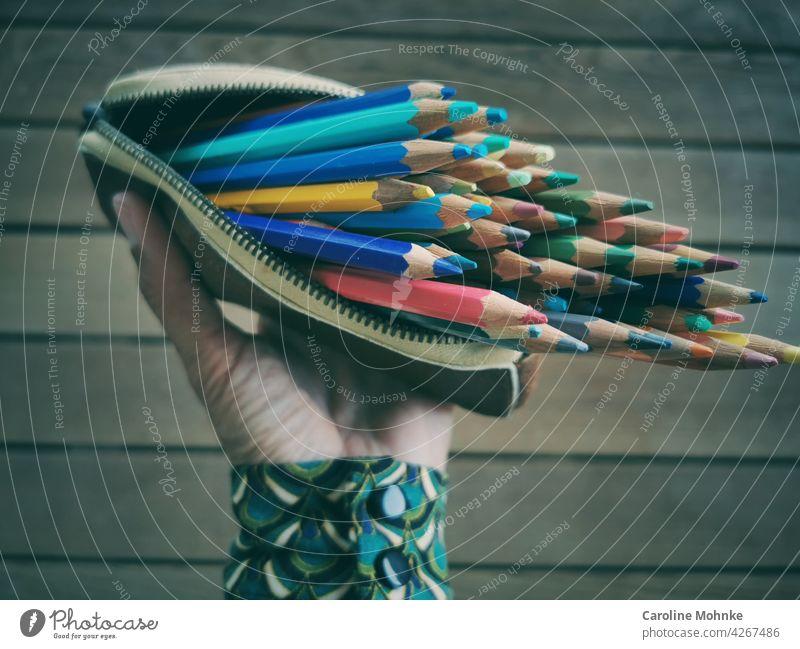 Frau hält ein offenes Etui in der Hand mit bunten Farbstiften grün rot mehrfarbig gelb blau Farbe farbenfroh orange Farbfoto Menschenleer bunt gemischt Natur