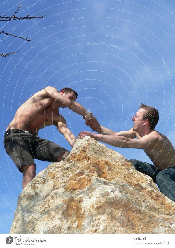 teamwork Himmel oben Freundschaft Gesundheit Erfolg Felsen Hilfsbereitschaft Ziel Team gestikulieren Klettern Gipfel Bergsteigen Teamwork Dienst Sport