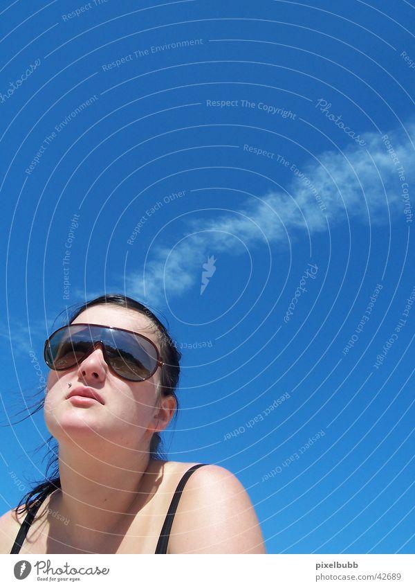 Hm... Frau Himmel Sommer Wolken Stil Sonnenbrille
