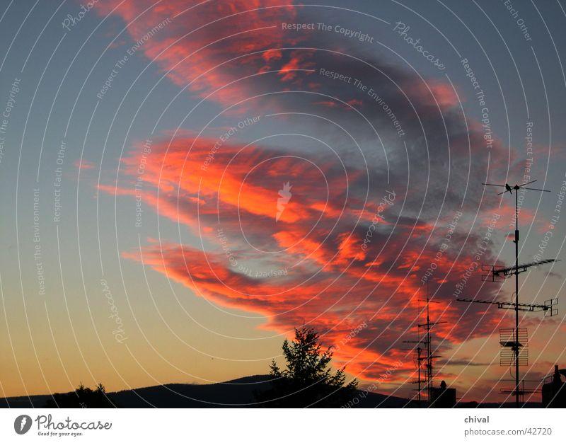 Abendhimmel Himmel rot Wolken Farbe orange