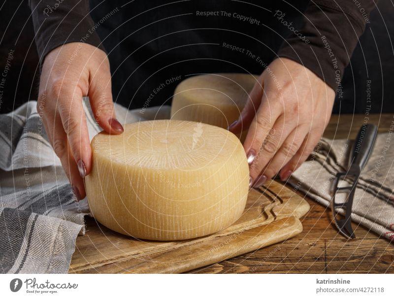 Jemand legt einen Laib frischen, hausgemachten Käse auf ein Holzbrett selbstgemacht Hände Holzplatte setzen hölzern abschließen Spielfigur Italienisch