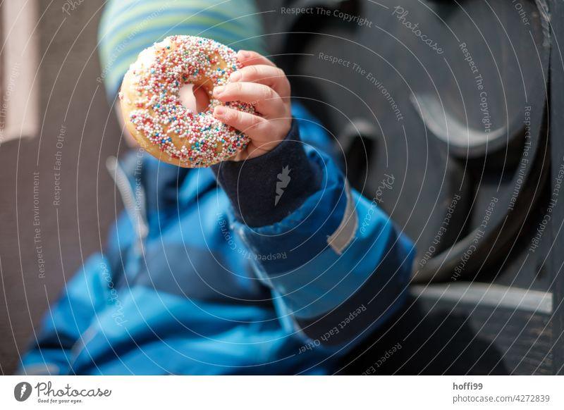 Donut mit bunten Streuseln in Kinderhand Donuts süß Süßwaren Gebäck Kuchen Zucker Backwaren lecker Dessert Lebensmittel Bäckerei Krapfen Snack rosa ungesund