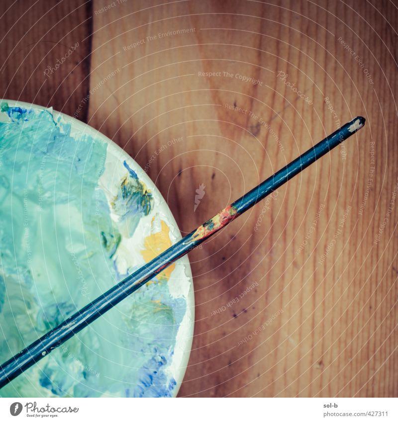ruhig Wärme Holz natürlich Kunst Arbeit & Erwerbstätigkeit Freizeit & Hobby Häusliches Leben Tisch einfach Kreativität malen Kultur Gemälde Beruf türkis